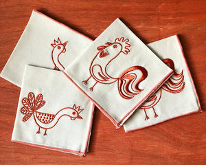 Hen & Rooster Embroidered Cocktail Napkin Set