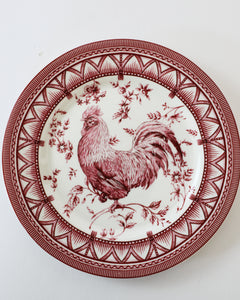 Red Rooster Plates, set of 5