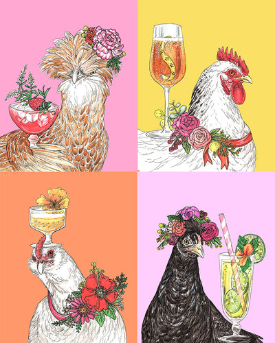 RKartwork x Drinking with Chickens Archival Print Portraits, set of 4