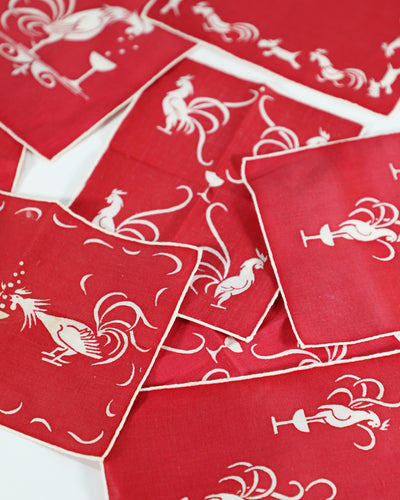 Vintage Drinking with Chickens Cocktail Napkins, set of 8