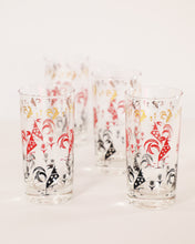 Load image into Gallery viewer, Red, Black, and Gold Rooster Pattern Highballs, set of 4