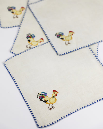 Embroidered Linen Rooster Napkins, set of 8
