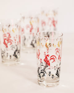 Red, Black, and Gold Rooster Pattern Highballs, set of 4