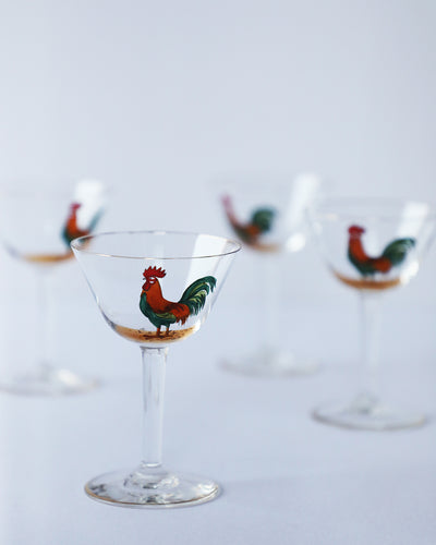 Gold-Rimmed Rooster Snack Cocktail Glasses