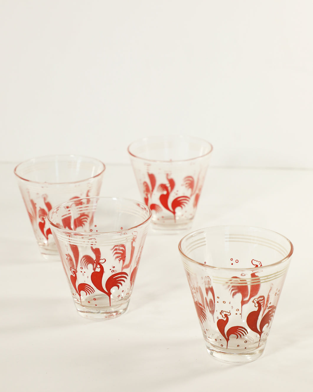 Hazel Atlas Red Rooster Petite Whiskey Glasses, set of 4
