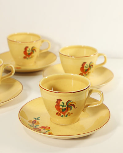 Vintage Taylor Smith Rooster Teacup & Saucer Sets