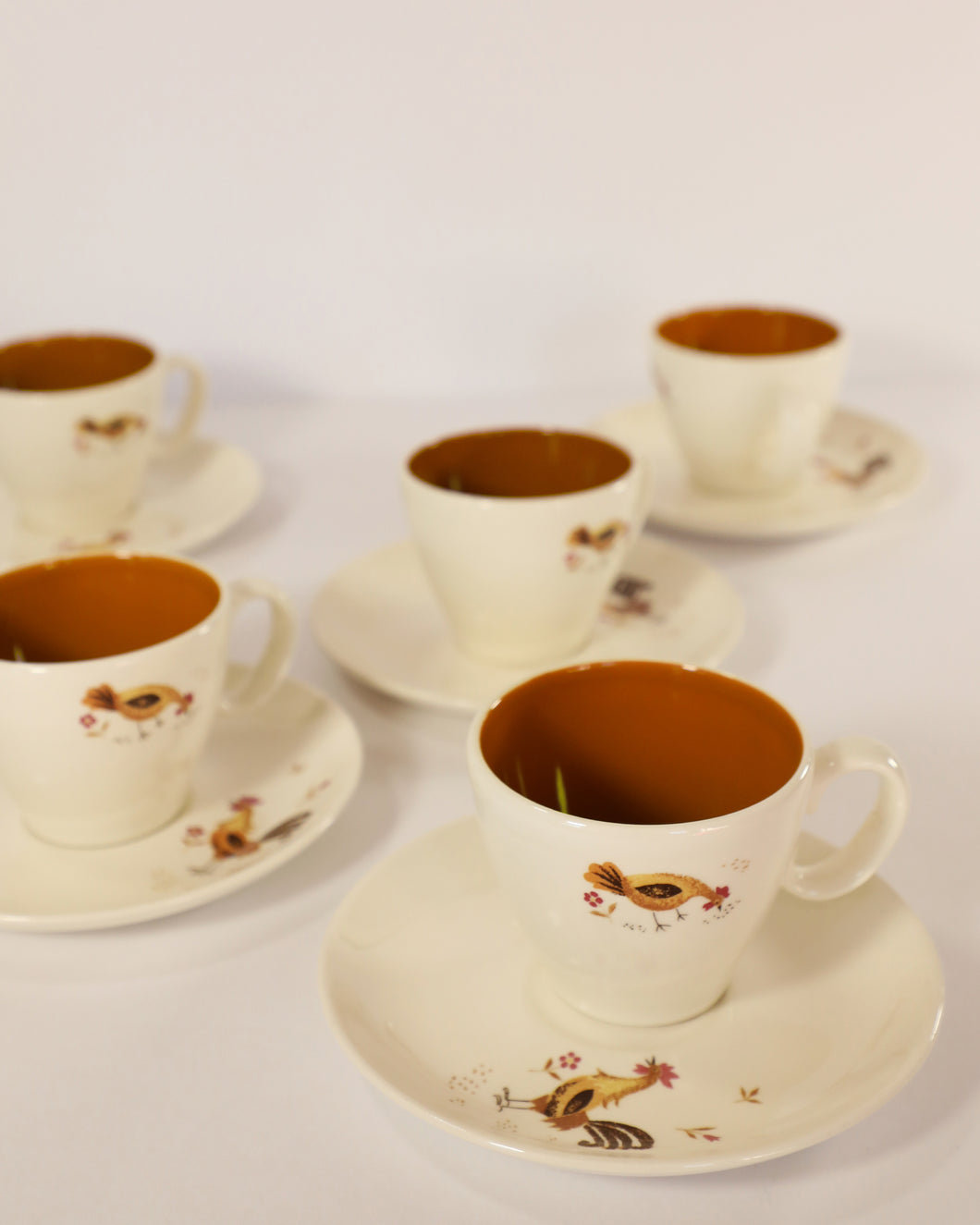 Hen & Rooster Teacups and Saucers, set of 5