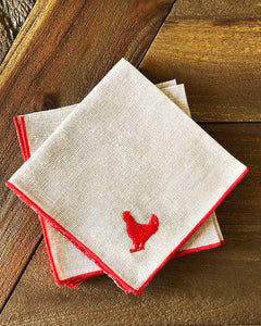 Tiny Chicken Embroidered Cocktail Napkin Set