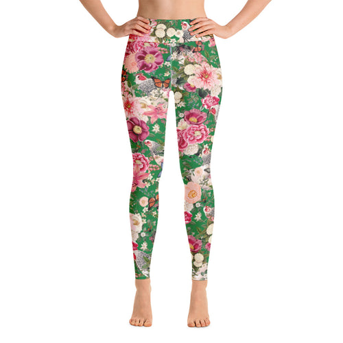 Secret Chicken Garden Yoga Leggings, Light Brahma