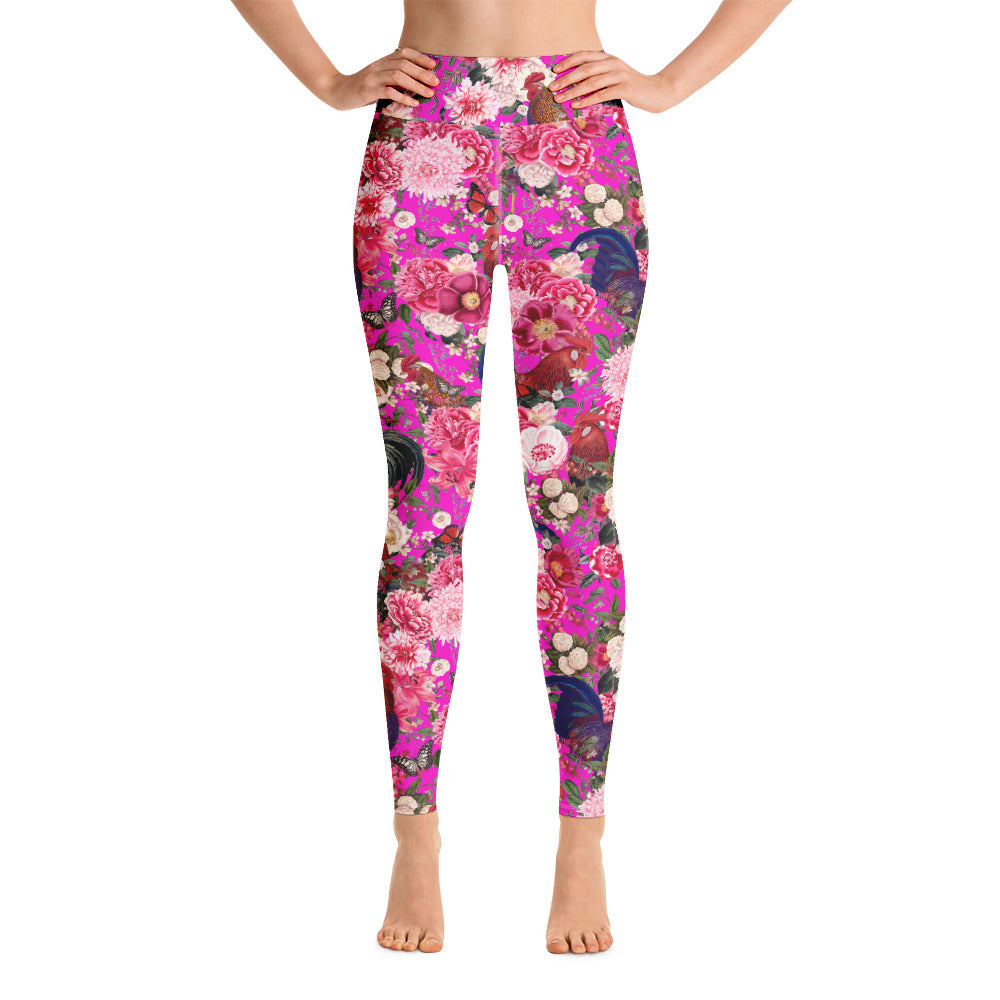 Secret Chicken Garden Yoga Leggings, Rooster
