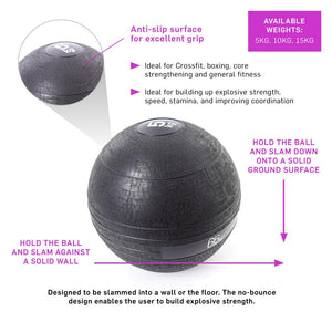 66fit Slam Balls - Black - 5kg, 10kg & 15kg