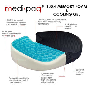 Medipaq®️ Cooling Gel Memory Foam Coccyx Cushion