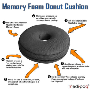 Medipaq®️ Memory Foam Ring Doughnut Cushion