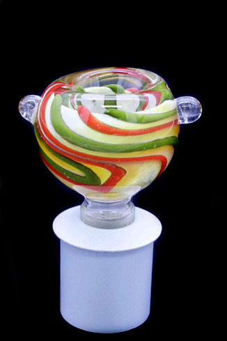Cone Piece - Glass Bulb Rasta Swirl.