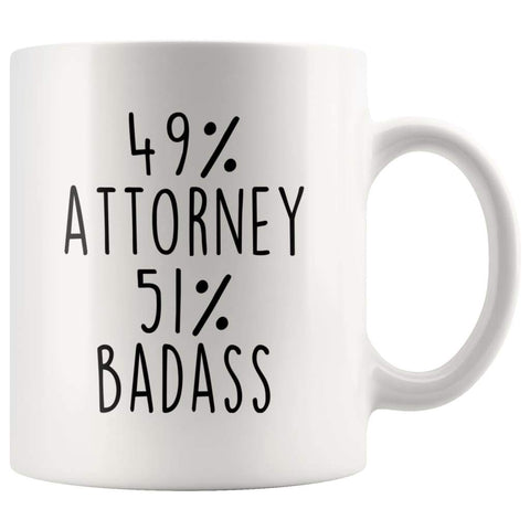 49% Attorney 51% Badass Coffee Mug | Gift for Attorney | Attorney Gifts $14.99 | 11oz Mug Drinkware