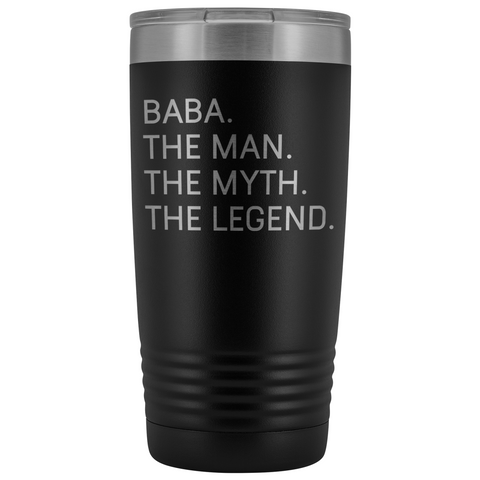 Baba Gifts Baba The Man The Myth The Legend Stainless Steel Vacuum Travel Mug Insulated Tumbler 20oz $31.99 | Black Tumblers