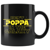 Best Poppa In The Galaxy Coffee Mug Black 11oz Gifts for Poppa