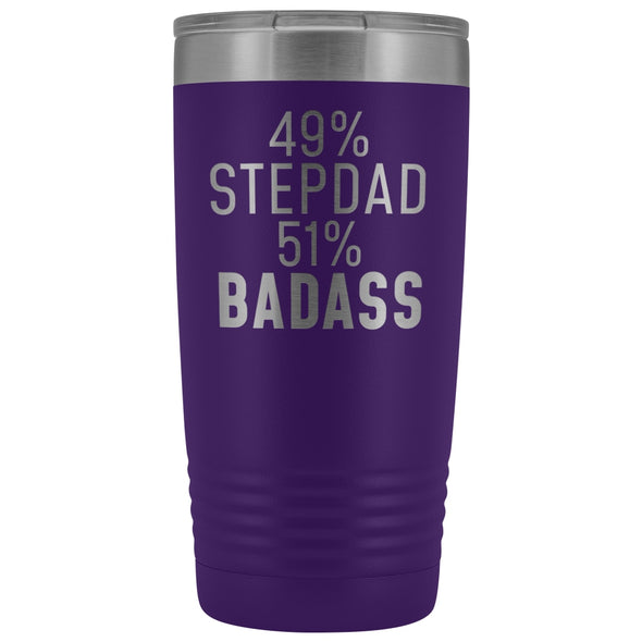 Best Stepdad Gift: 49% Stepdad 51% Badass Insulated Tumbler 20oz $29.99 | Purple Tumblers