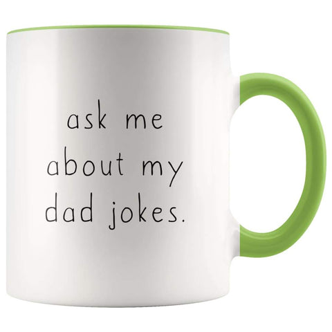 Ask Me About My Dad Jokes Accent Color Coffee Mug - BackyardPeaks