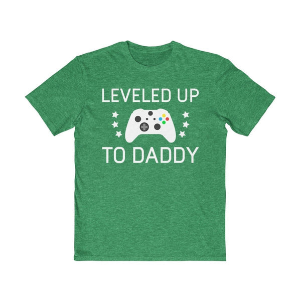 First Baby Gift for New Dad: Leveled Up To Daddy T-Shirt | Perfect as a Pregnancy Reveal Gift