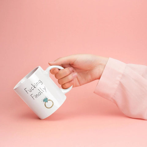 Fucking Finally Mug | Funny Newly Engaged Wedding Engagement Gift $18.99 | Drinkware
