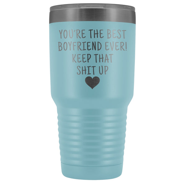 Funny Boyfriend Gift: Best Boyfriend Ever! Large Insulated Tumbler 30oz $38.95 | Light Blue Tumblers