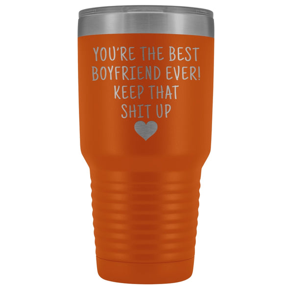Funny Boyfriend Gift: Best Boyfriend Ever! Large Insulated Tumbler 30oz $38.95 | Orange Tumblers