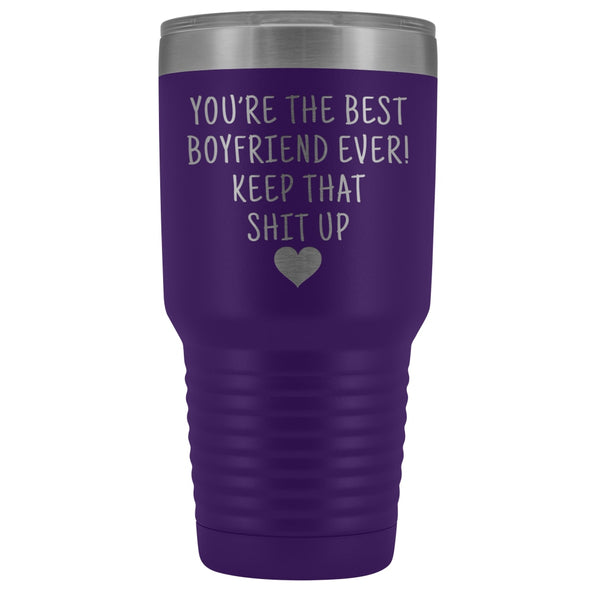 Funny Boyfriend Gift: Best Boyfriend Ever! Large Insulated Tumbler 30oz $38.95 | Purple Tumblers