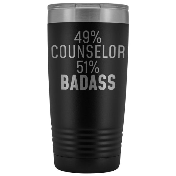 Funny Counselor Gift: 49% Counselor 51% Badass Insulated Tumbler 20oz $29.99 | Black Tumblers