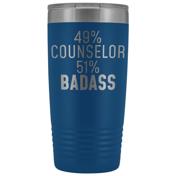 Funny Counselor Gift: 49% Counselor 51% Badass Insulated Tumbler 20oz $29.99 | Blue Tumblers