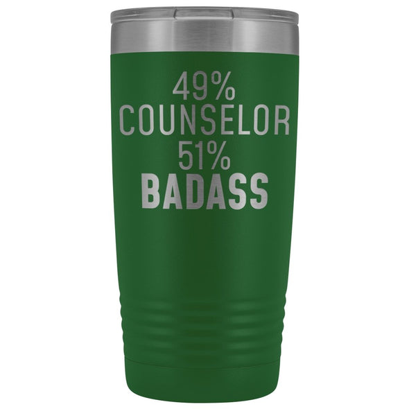 Funny Counselor Gift: 49% Counselor 51% Badass Insulated Tumbler 20oz $29.99 | Green Tumblers
