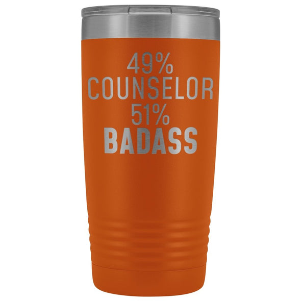 Funny Counselor Gift: 49% Counselor 51% Badass Insulated Tumbler 20oz $29.99 | Orange Tumblers