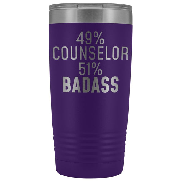 Funny Counselor Gift: 49% Counselor 51% Badass Insulated Tumbler 20oz $29.99 | Purple Tumblers