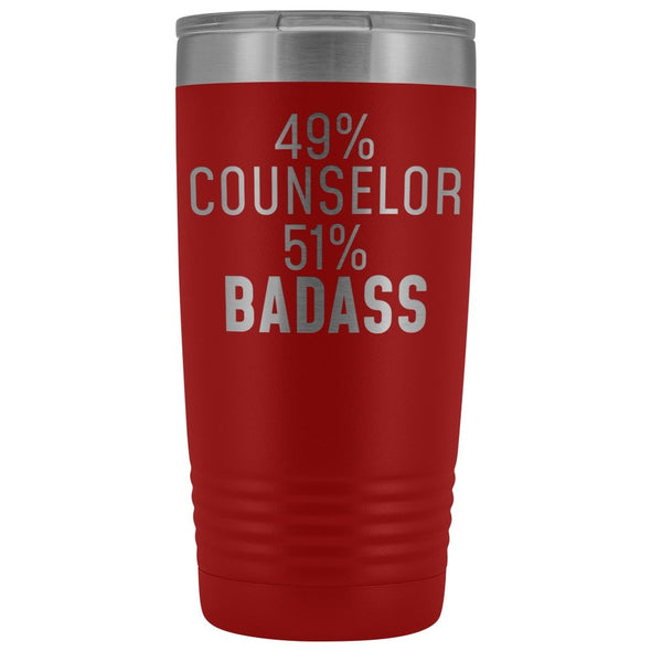 Funny Counselor Gift: 49% Counselor 51% Badass Insulated Tumbler 20oz $29.99 | Red Tumblers