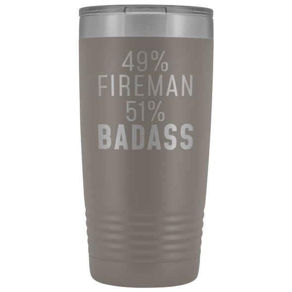 Funny Firefighter Gift: 49% Fireman 51% Badass Insulated Tumbler 20oz $29.99 | Pewter Tumblers