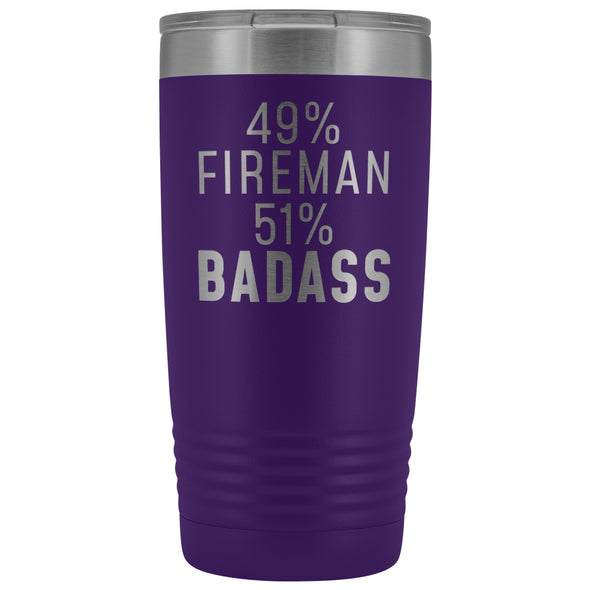 Funny Firefighter Gift: 49% Fireman 51% Badass Insulated Tumbler 20oz $29.99 | Purple Tumblers