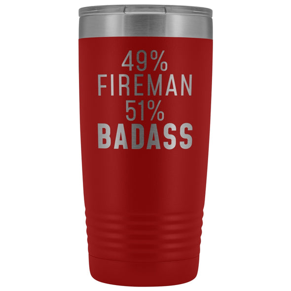 Funny Firefighter Gift: 49% Fireman 51% Badass Insulated Tumbler 20oz $29.99 | Red Tumblers