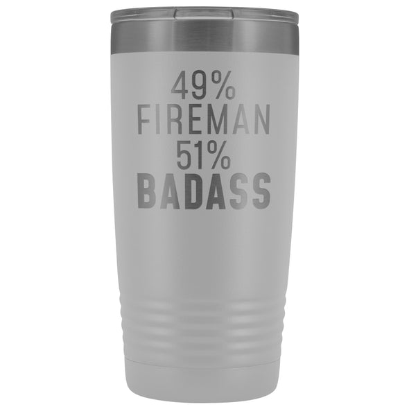 Funny Firefighter Gift: 49% Fireman 51% Badass Insulated Tumbler 20oz $29.99 | White Tumblers