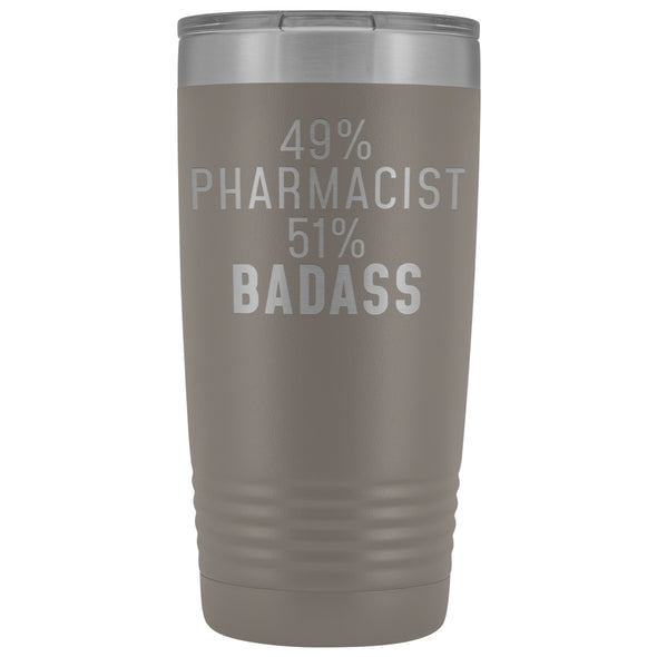 Funny Pharmacist Gift: 49% Pharmacist 51% Badass Insulated Tumbler 20oz $29.99 | Pewter Tumblers