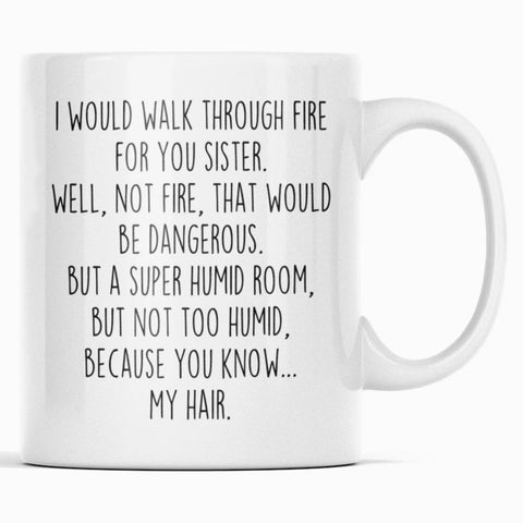 Funny Sister Gift | Sister Mug | Gift for Sister | I Would Walk Through Fire For You Sister Coffee Mug $14.99 | 11oz Mug Drinkware