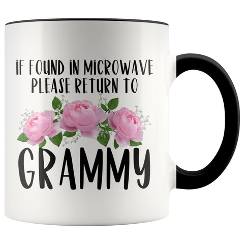 Grammy Gift Ideas for Mother's Day If Found In Microwave Please Return To Grammy Coffee Mug Tea Cup 11 ounce $14.99 | Black Drinkware