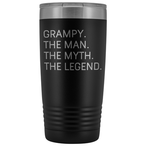 Grampy Gifts Grampy The Man The Myth The Legend Stainless Steel Vacuum Travel Mug Insulated Tumbler 20oz $31.99 | Black Tumblers