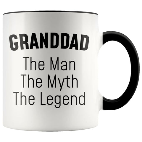 Granddad Gifts Granddad The Man The Myth The Legend Granddad Christmas Grandpa Birthday Father's Day Coffee Mug $14.99 | Black Drinkware