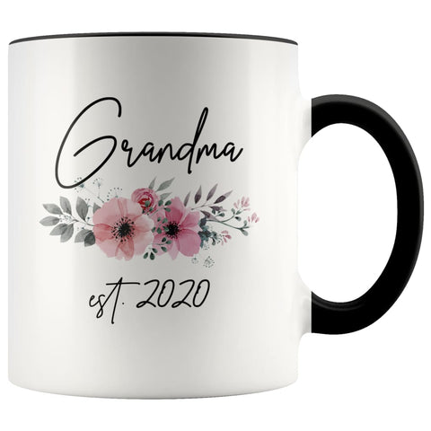 Grandma Est 2020 Pregnancy Announcement Gift to New Grandma Coffee Mug 11oz $14.99 | Black Drinkware