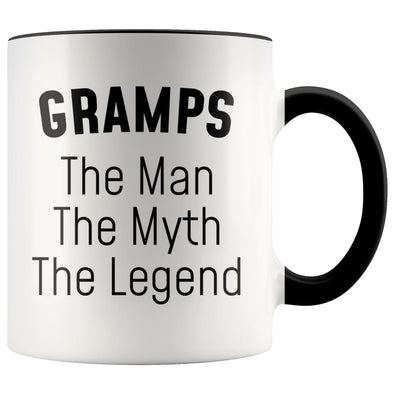 Grandpa Gramps Gifts Gramps The Man The Myth The Legend Gramps Christmas Birthday Father's Day Coffee Mug $14.99 | Black Drinkware