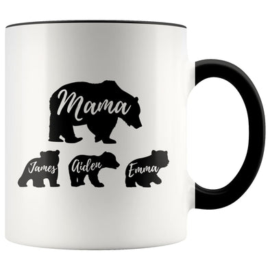 Mama Bear Mug Custom Names Mom Gifts Personalized Gifts for Mom Bear Coffee Mug Tea Cup $14.99 | Black Drinkware