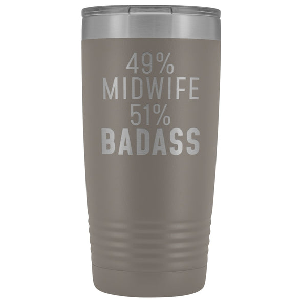 Midwife Appreciation Gift: 49% Midwife 51% Badass Insulated Tumbler 20oz $29.99 | Pewter Tumblers