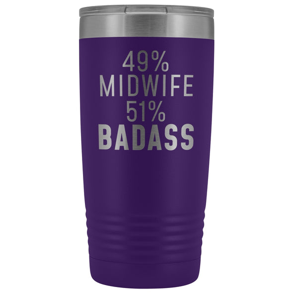 Midwife Appreciation Gift: 49% Midwife 51% Badass Insulated Tumbler 20oz $29.99 | Purple Tumblers