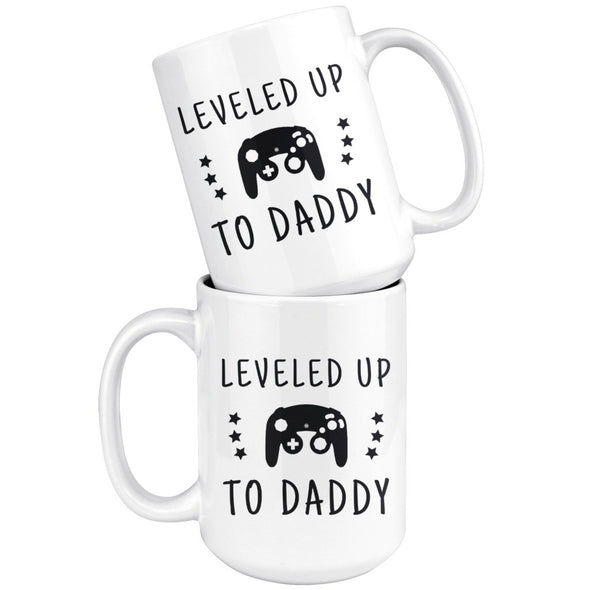 New Dad Gift: Large Leveled Up To Daddy Coffee Mug 15oz $24.99 | Drinkware