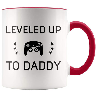 New Dad Gift - Leveled Up To Daddy Coffee Mug - BackyardPeaks